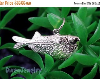 SALE Sterling Silver 3D Fish Pendant Necklace