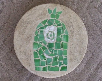 Green One-Eyed Monster Mosaic Stepping Stone