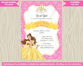 Princess Belle Invitation Invite belle birthday invitation Belle tea party pink yellow, beauty beast, digital printable DIY
