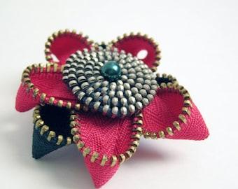 Hot Pink Flower Zipper Brooch Pin