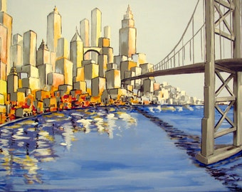"""American Cityscape 3, Urban colors, Buildings Skyline,Blue Water Front, Bridge, Original Painting on canvas,24""""x 36"""", Free Shipping in USA."""