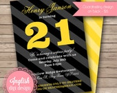 21st Birthday Party Invitation, Printable Birthday Party Invite, Masculine 21st Birthday Party Invite - Bold Stripes in Black, Gray, Yellow