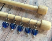 Blue Heart Stitch Markers - Set of 5 for your knitting project bag