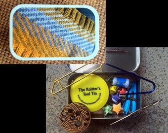 Knitter's Tool Tin - Chevzam: altered altoid tin with knitting and sewing notions!