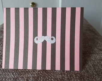 Pink and Brown Striped Mustache Card set of 3