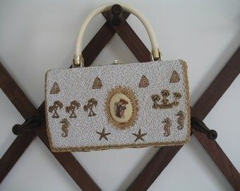 1950's Miami Purse Handbag, Beaded, Seahorse, Palms, Starfish