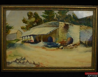 Original Watercolor Spanish Stone Lean-To Shed Framed Signed Vivian Boucher L1X