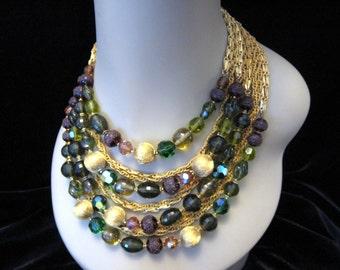 Vintage DEMARIO 4 Strand Glass Bead & Chain Necklace w/ Rhinestone Clasp