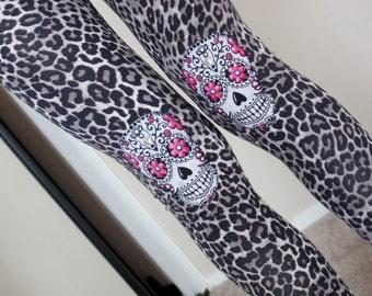 Olivia Paige - Sugar skull studded leggings punk rock Leopard