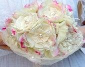 Ivory bridal bouquet,satin bouquet,Silk flower bouquet,wedding bouquet brooch bridal bouquet pink bridal bouquet alternative, fabric bouquet