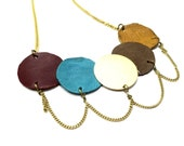 Bib leather necklace, bib necklace statement, colorful necklace, leather necklace, statement bib necklace, mother gift, gold chain necklace