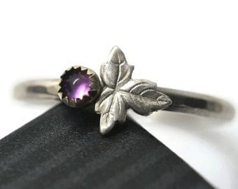 Dainty Purple Amethyst Berry Ring, Sterling Silver Leaf Charm, Nature Inspired Botanical Jewelry