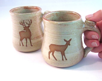 Deer Coffee Mugs - Tea Cups - Buck and Doe - Wild Animal Silhouette - Deer Pair - Handmade Pottery - Pottersong - Rustic Speckled Cream Rust