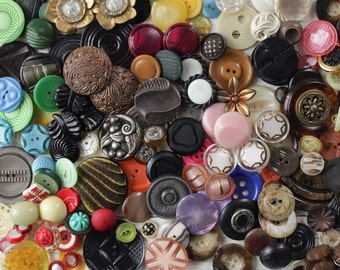 Mid Century Buttons - Vintage 60s Retro, Chunky Fancy Plastic Buttons - Lot of 100+ Pcs.