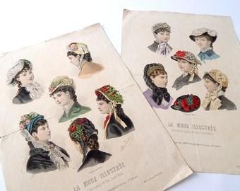 2 Antique French 'Fashion Plates'  Originals Not Reprints