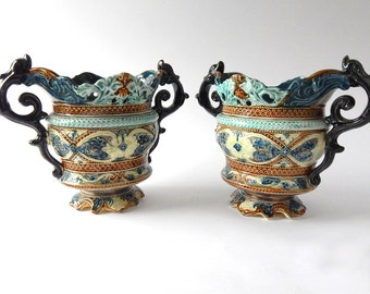 Pair of Antique French Majolica Jardinieres +LOWER PRICE+