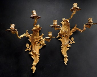 French Antique Sconces Large High Quality Matched Pair in Bronze