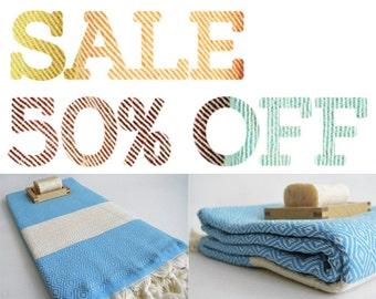 SALE 50% OFF Diamond Bathstyle Turkish BATH Towel Peshtemal -A- Blue - Bath, Beach, Spa, Swim, Pool Towels