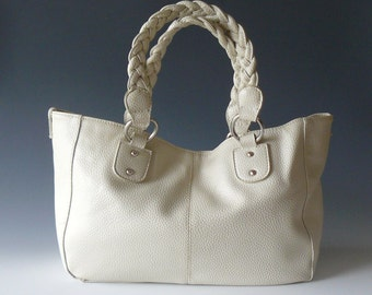 Aldo White Leather Tote Shopper Shoulder Bag Braided Leather