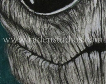 Our Earth - ORIGINAL Charcoal Drawing, Matted