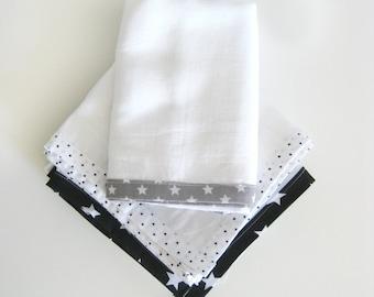 Muslin Swaddle Wraps, Burp Cloths, Security Blanket, Cotton Gauze Muslin square (3 pack)- Gender Neutral