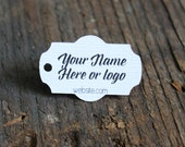 """100 tags - 2""""x1"""" - Customized Small Price Tags Jewelry Hang Tags Labels MT12"""