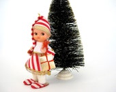 Vintage Christmas Pixie Doll Red and White Stripe Blond Gold Present Slippers Xmas Tree Ornament Decoration