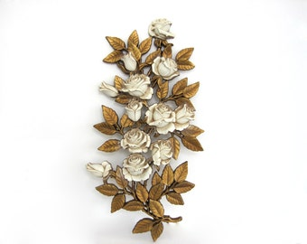 Vintage Wall Plaque Decor Large Accent Gold Leaves Cream Off White Rose Bouquet Homco 1970's Decor Cottage Chic Hollywood