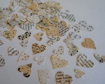 100 Hand Cut Paper Hearts - Embellished Vintage Papers - Confetti, Table Scatter, Card Making, Journaling, Collage