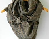 Plaid Blanket Scarf, Plaid Blanket Scarf, Oversized Scarf, Oversized Plaid Scarf, Chunky Scarf, Camel Blanket Scarf, Brown Plaid