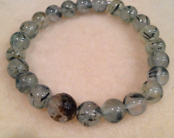 Prehnite & Epidote 8mm Round and 10mm Faceted Stretch Bead Bracelet with Sterling Silver Accent