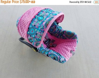 Summer SALE Baby Girl Infant car seat cover-beautiful medallion print Teal and pinks-  Always comes with FREE strap Covers