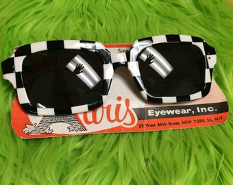 Op Art Checker Print Sunglasses made in France