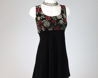 90's Roses Floral Slinky Mini Dress // S - M