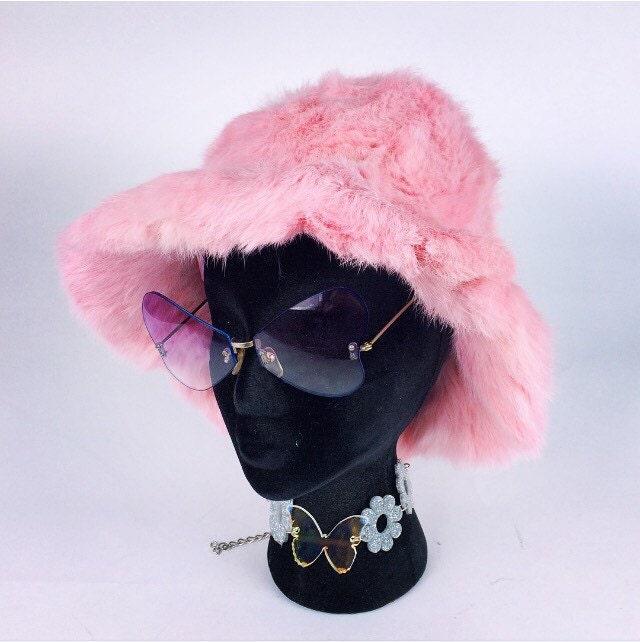 90s pastel baby pink rabbit fur bucket hat