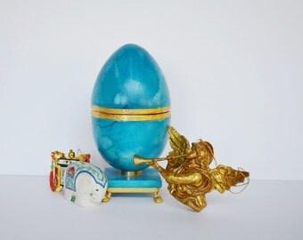 Vintage Easter Egg Blue Alabaster Italy