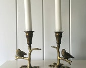 Brass Candlesticks with Bird on Branch Vintage Pair