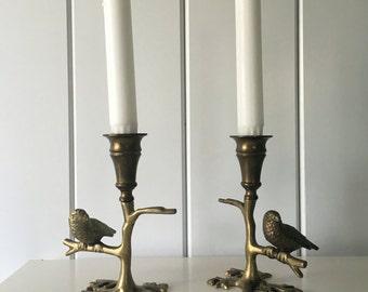 Brass Candlesticks with Bird on Branch Vintage Pair