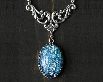 Aquamarine Blue Opal Necklace