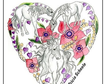 Valentine Horse coloring book