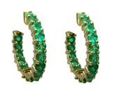 """Splendid! 5.0tcw Colombian Emerald & Gold """"Inside Out"""" Hoops 14k"""