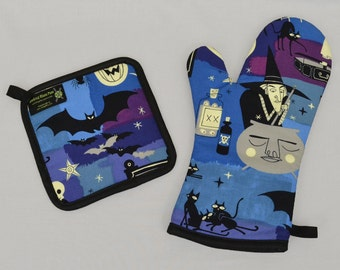 Halloween Oven Mitt and Pot Holder, Witch, Bats, Black Cats, Pumpkins, Sets or Singles