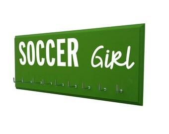 soccer girl,soccer medals holder, gift for soccer player, soccer team, soccer gifts, awards holder, trophy display, ribbons hanger