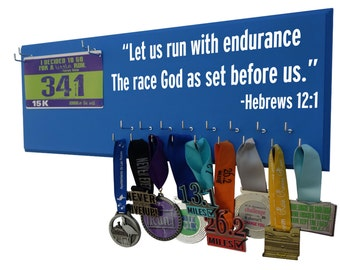 Running medal and race bibs - Let us run with endurance the race God has set before us. Hebrews 12:1, Gifts for runners
