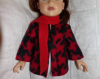 Black & red houndstooth print coat and red scarf for 18 inch dolls - ag295