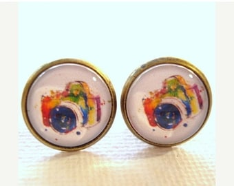 50% OFF Moving Sale - Camera Glass Cabochon Stub Earring, Ear studs 12mm with Antiqued Brass Setting ES-17