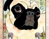 Pop Art Pug Leash Hook Dog lover gift pet home decor dog leash holder
