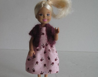 Chelsea Kelly Pink Dress With Sweater: also fits 1/12 dollhouse dolls