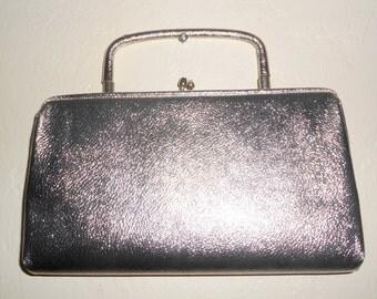 Vintage 1960s silver lame square-handled formal / evening bag / handbag / clutch
