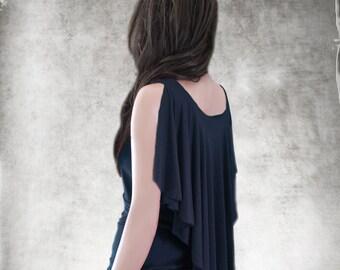 Black tank cape/Drape back blouse/Empire bust line/Knit wear women